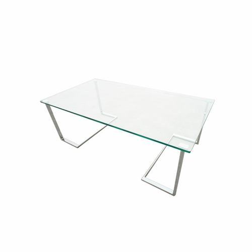 Allan Copley Designs Edwin Rectangle Cocktail Table With Glass Top - Chrome base glass top coffee table