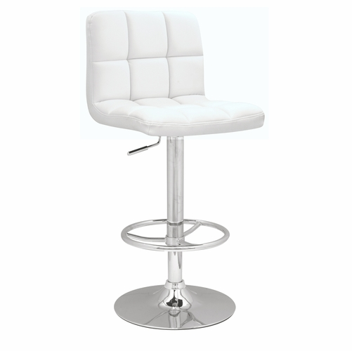 Chintaly   Stitched Seat Back Pneumatic Gas Lift Adjustable Height Swivel  Stool White   0394 AS WHT