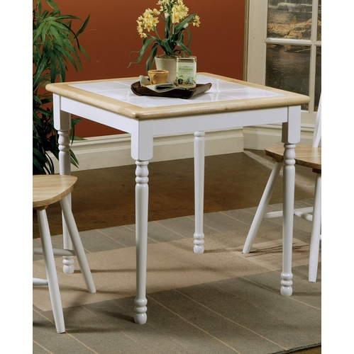 White And Brown Dining Table: Dining Table (Natural Brown/White)
