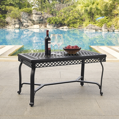 Crosley Furniture Portofino Cast Aluminum Coffee Table In Charcoal Black Finish Co6203 Bk