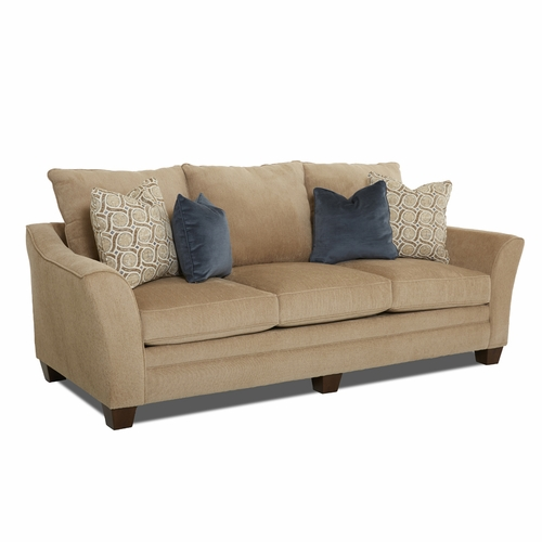 Klaussner   Posen Sofa In Furby Oatmeal With Pillows In Paredigm Khaki    12013371664
