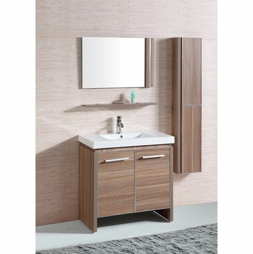 Legion Furniture - Sink Vanity with Mirror And Side Cabinet in Desert Sand - No Faucet - WTH0932-R