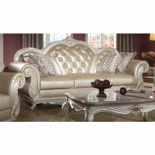 Meridian Furniture Marquee Pearl Leather Sofa 652 S