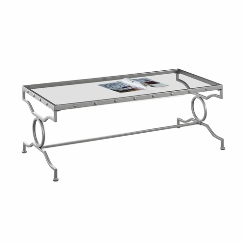 Monarch Specialties   Coffee Table Silver Metal With Tempered Glass   I 3324