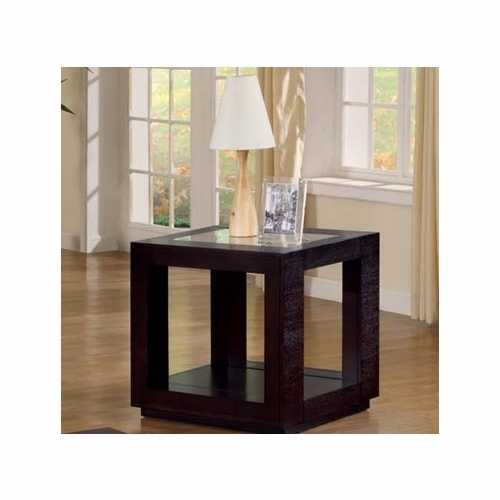 Delicieux Monarch Specialties   End Table Cappuccino Veneer With Glass Insert    I 7811E