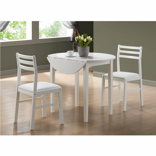 """Monarch Specialties White Dining Set With Round Dining: White 3Pcs Dining Set With A 36""""Dia"""