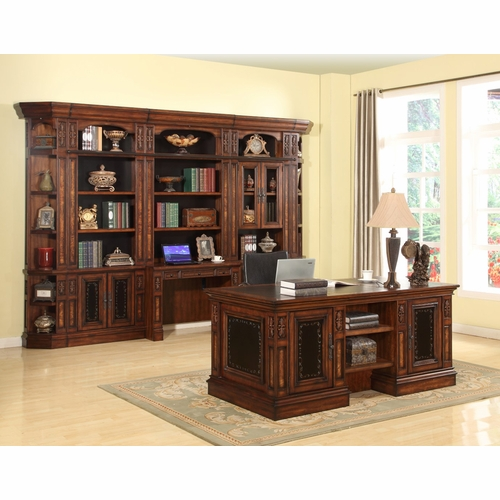 Parker House Leonardo 8pc Double Pedestal Executive Desk With Bookcase Library Wall Set In Antique Vintage