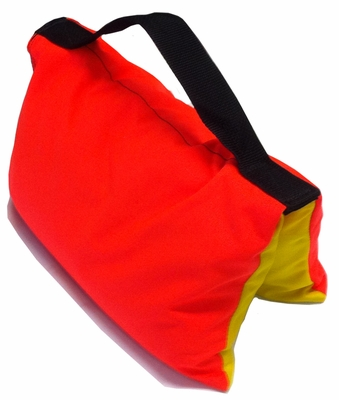 Filled Heavy Duty Saddle Sandbag 20 lb Safety Orange and Yellow