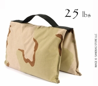 Filled Heavy Duty Saddle Sandbag 25lb Desert Camo