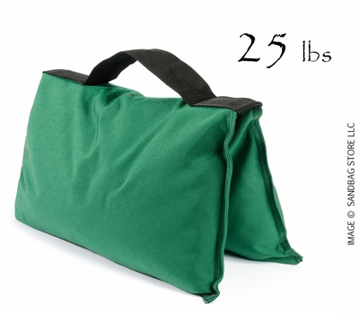 Filled Heavy Duty Saddle Sandbag 25lb Green