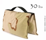 Filled Heavy Duty Saddle Sandbag 30lb Desert Camo