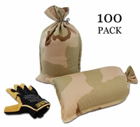 Mini Sandbag, Heavy Duty 8x14 Desert Camo 100 pk.