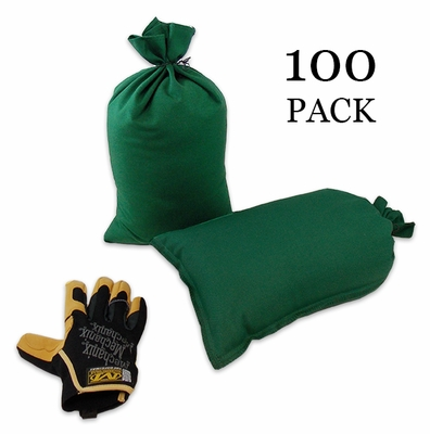 Mini Sandbag, Heavy Duty 8x14 Green 100 pk.