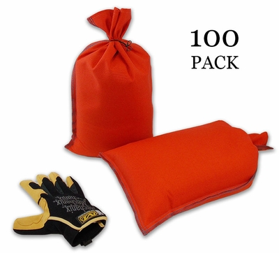 Mini Sandbag, Heavy Duty 8x14 Orange 100 pk.