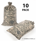 Armor Sandbag, Heavy Duty 14x28 ACU Camo 10 Pack
