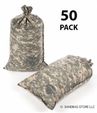 Armor Sandbag, Heavy Duty 14x28 ACU Camo 50 Pack