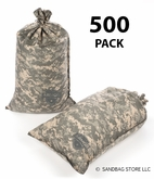 Armor Sandbag, Heavy Duty 14x28 ACU Camo 500 Pack