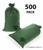Armor Sandbag, Heavy Duty 14x28 Green 500 Pack