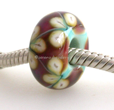 Copper Green, Pink and Yellow Flower European Charm Bead