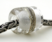 Crystal Clear Silvered Ivory Tube Big Hole Bead