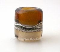 Maple Sepia Silvered Ivory Tube Big Hole Bead