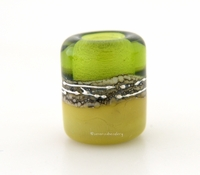 Olive Pistachio Silvered Ivory Tube Big Hole Bead