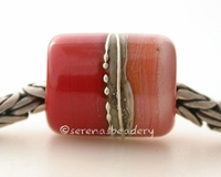 Sweet Spanish Leather Silvered Ivory Tube Big Hole Bead