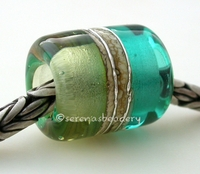 Teal Mojito Silvered Ivory Tube Big Hole Bead