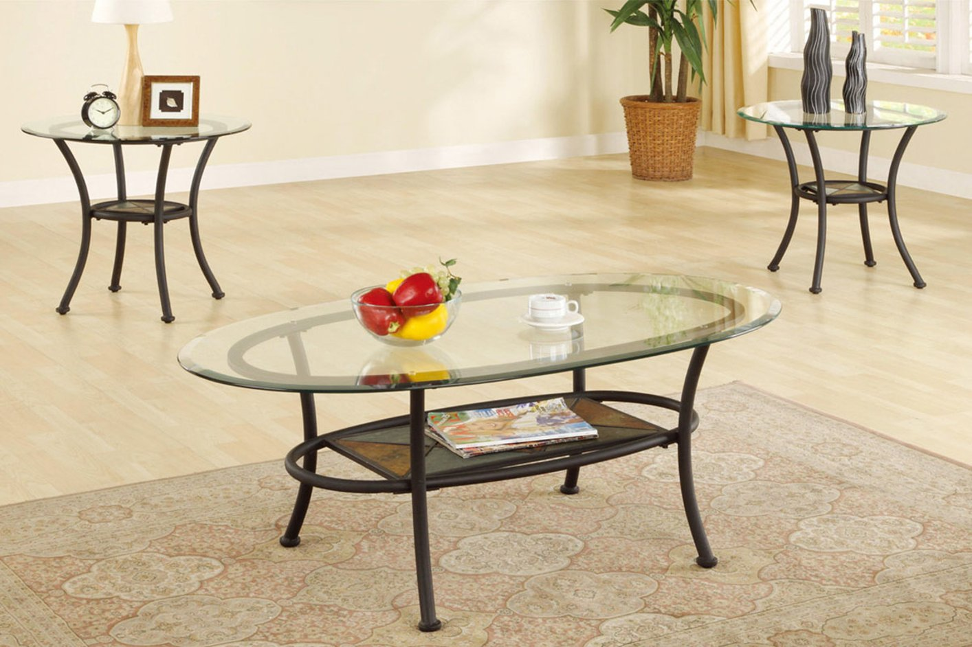 Black Glass Coffee Table Set - Poundex F3104 Black Glass Coffee Table Set - Steal-A-Sofa
