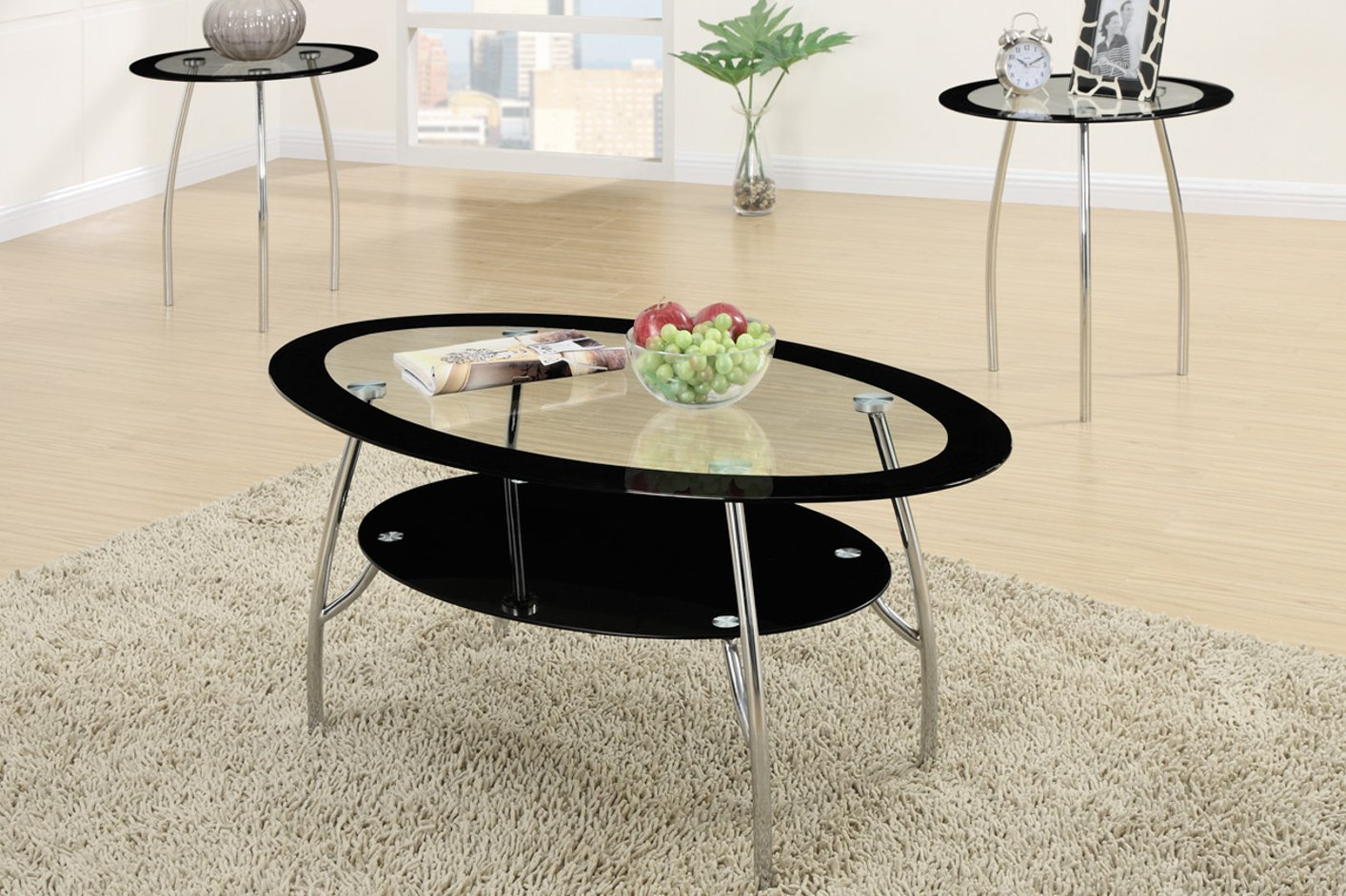 Black Glass Coffee Table Set - Steal-A-Sofa Furniture Outlet Los ...