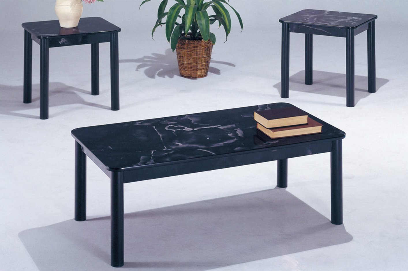 Black Marble Coffee Table Set - Steal-A-Sofa Furniture Outlet Los Angeles CA