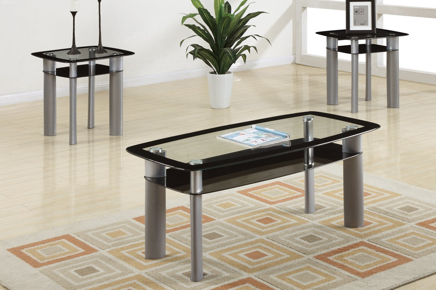 Poundex F3091 Black Glass Coffee Table Set Steal A Sofa Furniture Outlet Los Angeles Ca