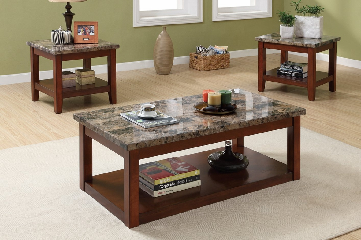 poundex f3135 brown marble coffee table set - steal-a-sofa