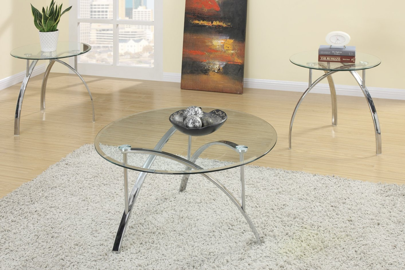 Silver Glass 3pc Coffee Table Set - Poundex F3098 Silver Glass 3pc Coffee Table Set - Steal-A-Sofa
