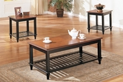 Brown Wood Coffee Table Set