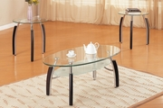 Silver Metal 3pc Coffee Table Set