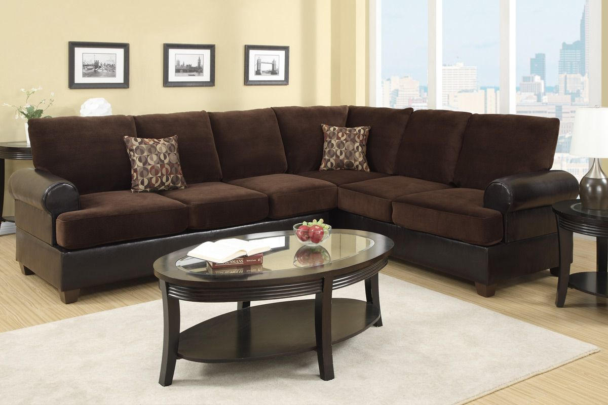 Poundex abbas f7102 brown microsuede sectional sofa in los for Suede sectional
