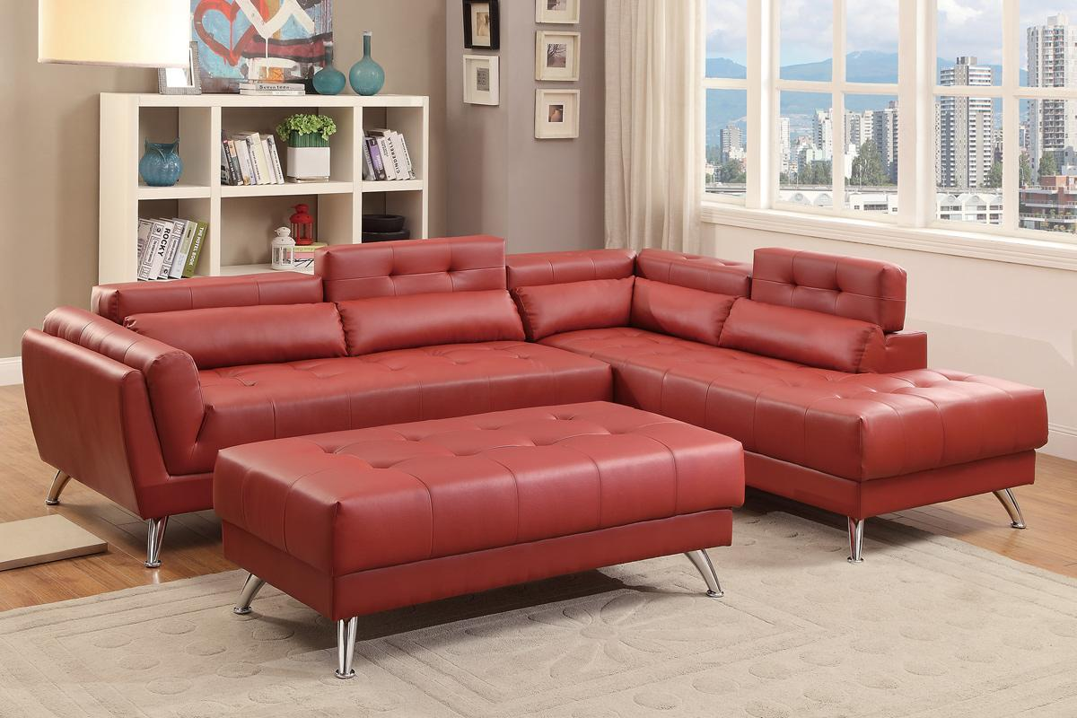 Abela Red Leather Sectional Sofa : red leather sectional couch - Sectionals, Sofas & Couches