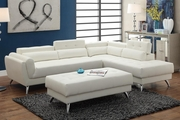 Abela White Leather Sectional Sofa