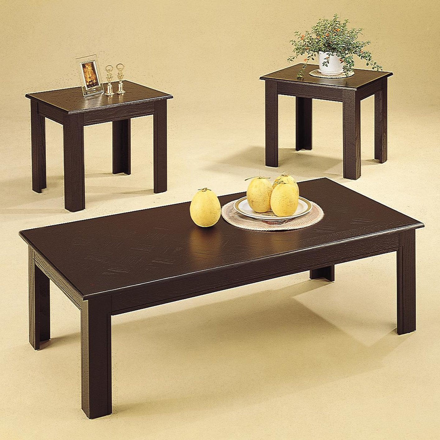 Acosta Black Wood Coffee Table Set StealASofa Furniture Outlet