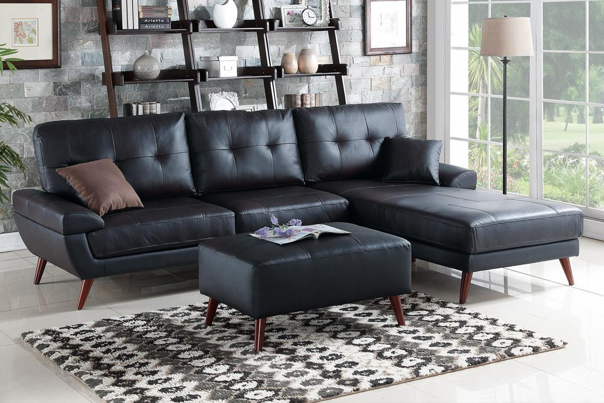 Adalene Black Leather Sectional Sofa