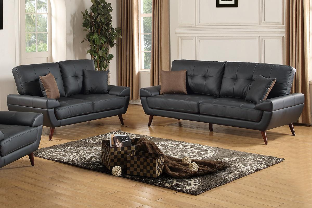Black Leather Sofa And Loveseat Set Home Design Ideas And Pictures ~ Black Sofa And Loveseat Set