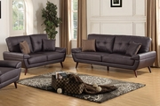Adalene Brown Leather Sofa and Loveseat Set