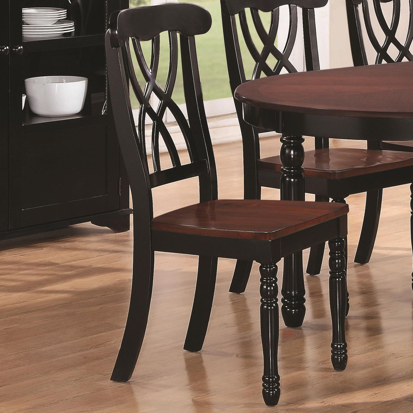 Addison Black And Cherry Wood Dining Chair Min Qty 2 Steal A