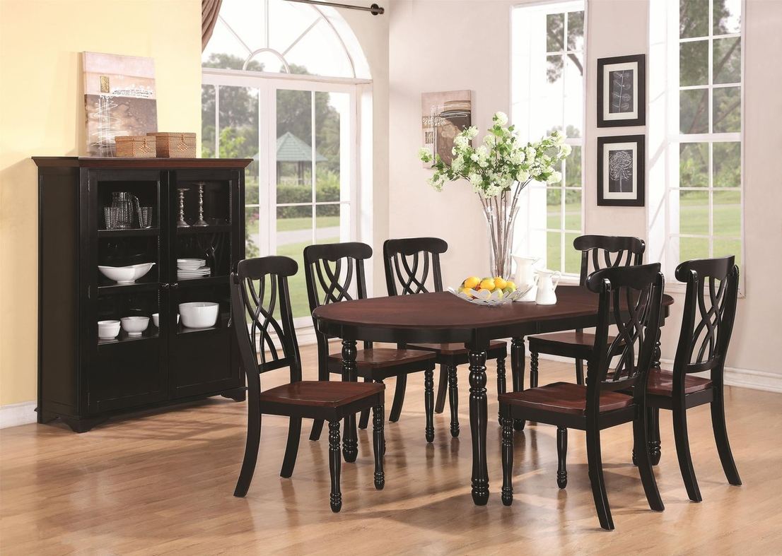 Black wood dining table set - Addison Black And Cherry Wood Dining Table
