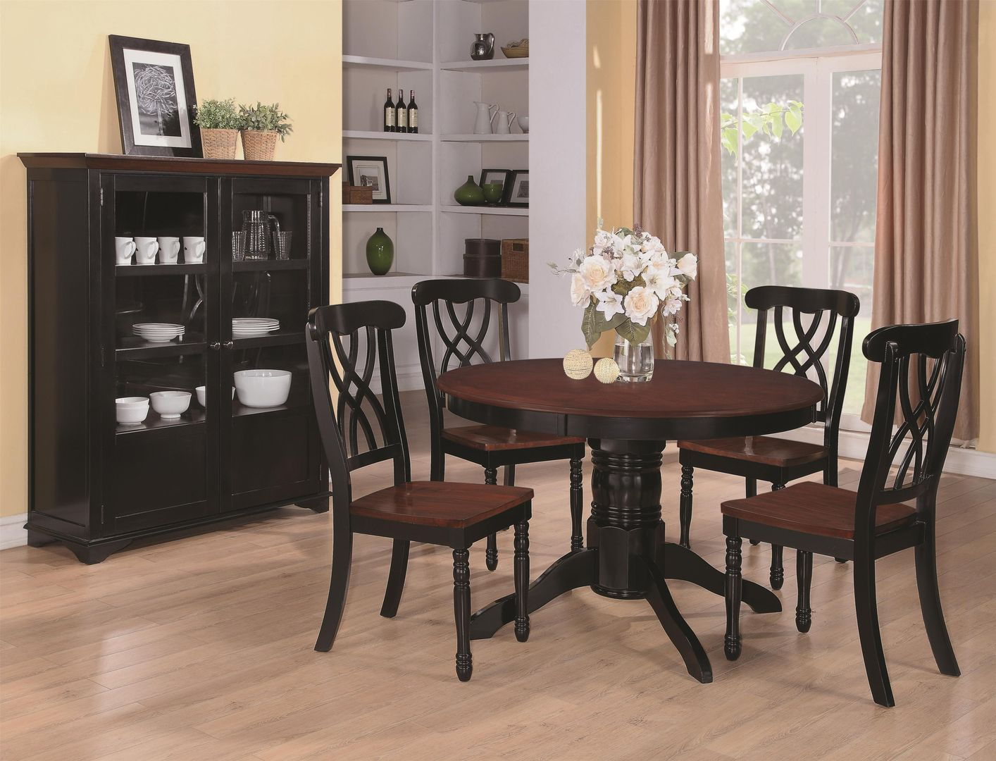 Merveilleux Addison Black And Cherry Wood Dining Table Set