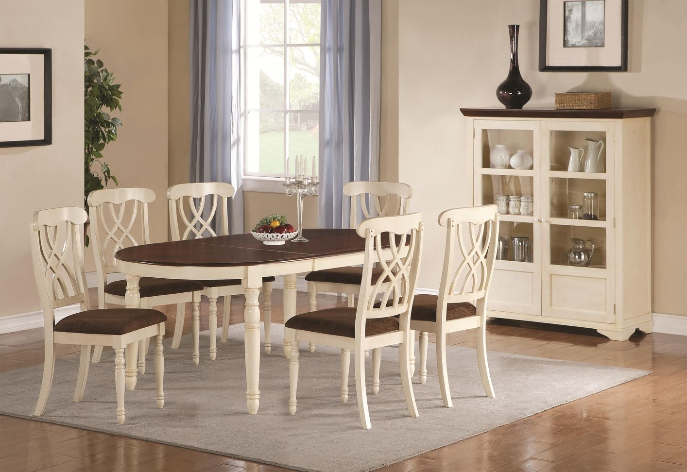 Coaster Addison 103181 103182 White Wood Dining Table Set In Los ...