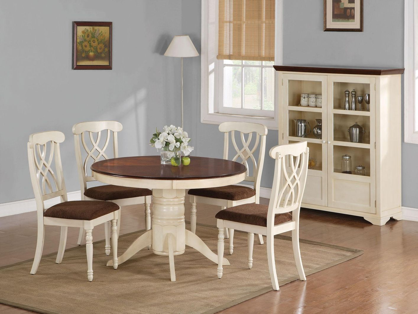 addison buttermilk and dark cherry wood dining table set - steal-a