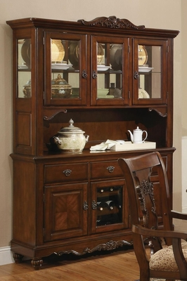 Brown Glass Buffet Hutch