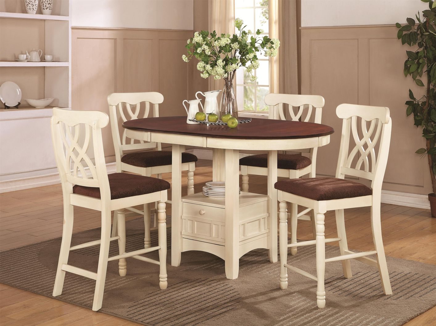 Addison White And Cherry Wood Pub Table Set : white round kitchen table and chairs - Cheerinfomania.Com